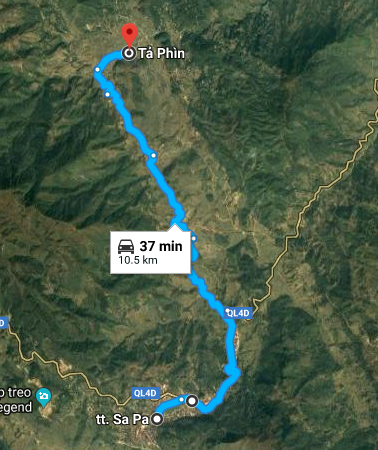 route from Sapa to Ta Phin