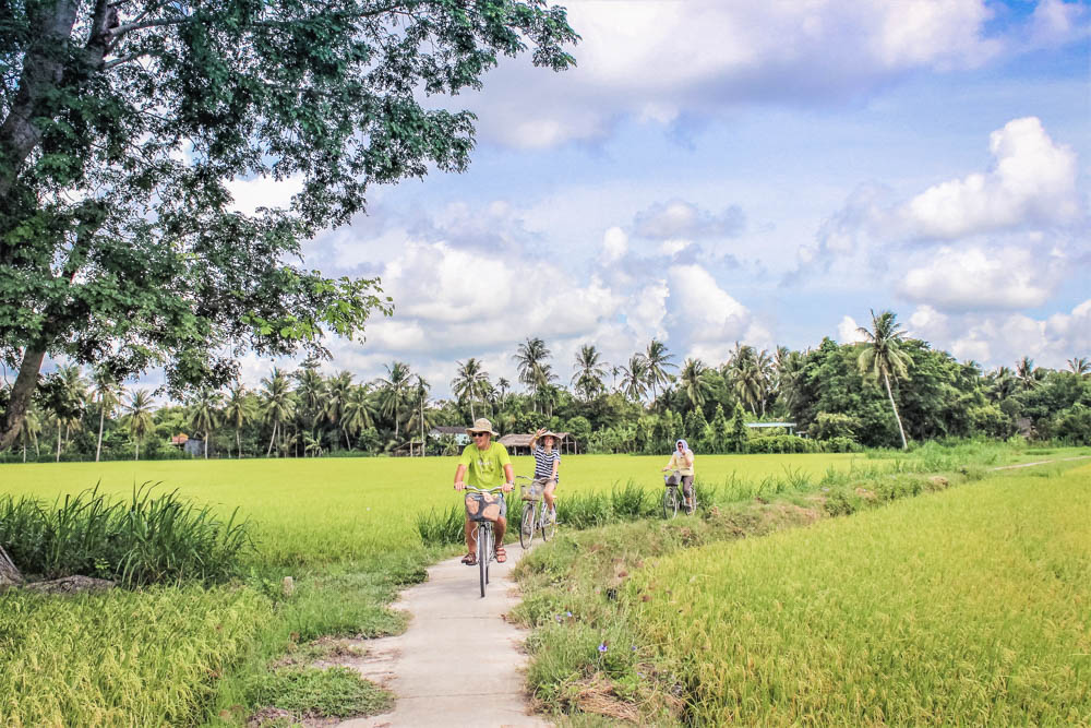 Top 4 reasons to love Mekong Delta cycling through a rice field